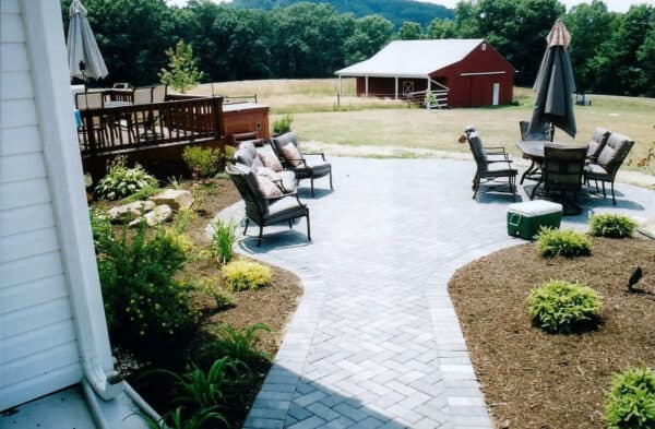 Stone Patio with Lounging Chairs