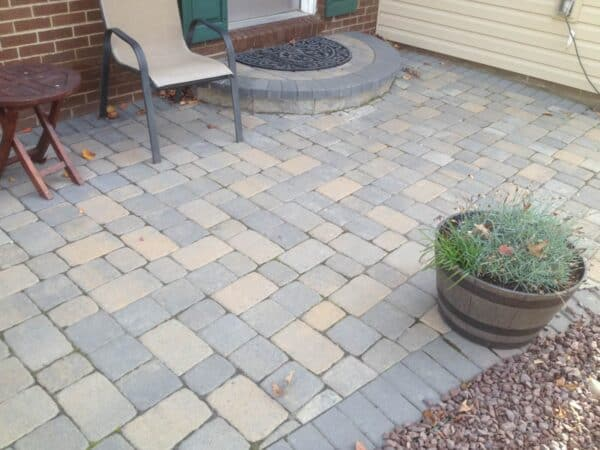 Stne Patio with a Raised Stone Step
