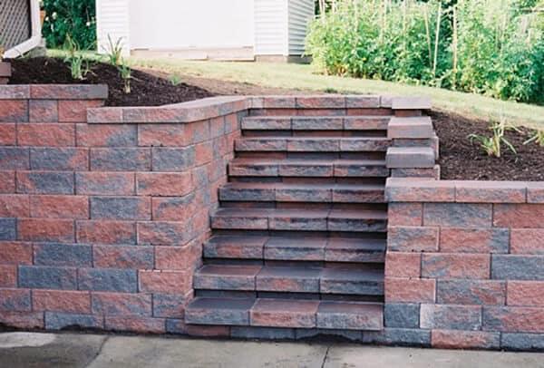 Red Brick Stone Retaining Wall