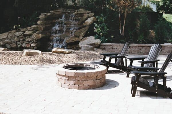 Waterfall Feature behind a Firepit